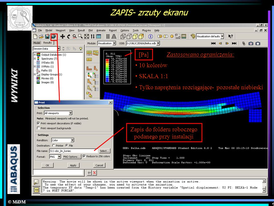 ZAPIS- zrzuty ekranu WYNIKI [Pa] Zastosowano ograniczenia: 10 kolorów